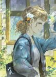 1girl bag bayashiko blonde_hair blue_jacket bottle brown_eyes commentary daisy day earrings english_commentary flower from_side hair_flower hair_ornament holding jacket jewelry looking_at_viewer looking_to_the_side open_clothes open_jacket orange_flower original outdoors shirt shoulder_bag sideways_mouth smile solo standing water_bottle white_flower white_shirt window