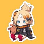 1girl abigail_williams_(fate/grand_order) alphy bangs black_bow black_jacket blonde_hair blue_eyes blush_stickers bow chibi commentary_request covered_mouth crossed_bandaids eyebrows_visible_through_hair fate/grand_order fate_(series) full_body hair_bow hair_bun jacket key long_hair long_sleeves object_hug orange_background orange_bow outline parted_bangs polka_dot polka_dot_bow red_footwear sample shoe_soles shoes sitting sleeves_past_fingers sleeves_past_wrists solo star stuffed_animal stuffed_toy teddy_bear white_outline