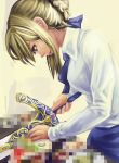 blonde_hair censored censored_food cooking excalibur fake_censor fate/stay_night fate_(series) kibamigohann looking_down pointless_censoring profile saber solo sword weapon what you're_doing_it_wrong you're_doing_it_wrong
