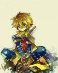 boots golden_sun lowres male pomi robin_(golden_sun) scarf short_hair sword weapon