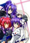 chibi cinque eyepatch fingerless_gloves ginga_nakajima gloves green_eyes hand_holding headband holding_hands long_hair mahou_shoujo_lyrical_nanoha mahou_shoujo_lyrical_nanoha_strikers nove ponytail purple_hair red_hair redhead revolver_knuckle short_hair silver_hair smile subaru_nakajima sweatdrop yellow_eyes