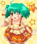 \m/ blush dress frills frilly green_hair macross macross_frontier ranka_lee red_eyes rise seikan_hikou short_hair skirt smile star stars twintails wink