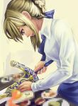 1girl artoria_pendragon_(all) blonde_hair censored censored_food cooking emiya-san_chi_no_kyou_no_gohan excalibur fake_censor fate/stay_night fate_(series) kibamigohann realistic saber sword type-moon weapon what you're_doing_it_wrong