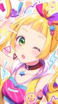 1girl ;o aikatsu!_(series) aikatsu_friends! anoa arm_up armpits bandeau bangs black_choker blonde_hair blush breasts chain_necklace choker commentary_request diagonal_stripes green_eyes hair_ornament hair_ribbon hinata_ema_(aikatsu_friends!) long_hair multicolored multicolored_background multicolored_ribbon one_eye_closed open_clothes open_mouth open_vest ribbon round_teeth single_detached_sleeve small_breasts solo speech_bubble star star_hair_ornament striped teeth translated triangle_earrings twintails upper_body upper_teeth vest yellow_vest