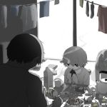 2boys avogado6 beer_can can cigarette cigarette_box cigarette_holder commentary eating food greyscale holding male_focus monochrome multiple_boys muted_color onigiri open_mouth original short_hair sitting smoke smoking