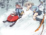 3girls aki_(girls_und_panzer) ankle_boots bag bangs blue_footwear blue_jacket blue_pants blue_shirt blue_skirt blush_stickers boots brown_hair carrying closed_eyes dress_shirt eyebrows_visible_through_hair food food_in_mouth forest girls_und_panzer green_eyes grey_legwear grey_skirt hair_tie hands_in_pockets highres holding holding_instrument instrument jacket kantele keizoku_military_uniform keizoku_school_uniform light_brown_hair loafers long_hair long_sleeves mika_(girls_und_panzer) mikko_(girls_und_panzer) military military_uniform miniskirt mouth_hold multiple_girls nature outdoors pants pants_rolled_up pants_under_skirt pleated_skirt raglan_sleeves redhead riding sabaku_chitai satchel school_uniform shirt shoes short_hair short_twintails sitting ski_pole skiing skirt skis sleeping snow snowmobile socks striped striped_shirt toast toast_in_mouth track_jacket track_pants twintails uniform vertical-striped_shirt vertical_stripes white_shirt yawning zzz