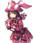 1girl absurdres animal_hat belt brown_hair bullpup bunny_hat elbow_pads eyebrows_visible_through_hair gloves gun hat highres holding holding_gun holding_weapon jacket llenn_(sao) long_sleeves looking_at_viewer normaland p-chan_(p-90) p90 pants pink_eyes pink_gloves pink_hat pink_jacket pink_pants short_hair simple_background submachine_gun sword_art_online sword_art_online_alternative:_gun_gale_online utility_belt weapon white_background