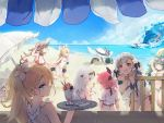 6+girls aa-12_(girls_frontline) ahoge alternate_costume alternate_hairstyle an-94_(girls_frontline) anger_vein animal_ears bags_under_eyes bangs beach beach_umbrella bikini blonde_hair blue_eyes blue_sky blush bow braid breasts brown_hair candy cetme_ameli_(girls_frontline) choker cleavage closed_mouth clouds collarbone day diving_suit eyebrows_visible_through_hair fal_(girls_frontline) ferret flower food fruit full_body g36_(girls_frontline) g41_(girls_frontline) girls_frontline green_hair hair_between_eyes hair_bow hair_flower hair_ornament hair_ribbon hairband hairclip hat hat_ribbon highres ice_cream large_breasts lollipop long_hair looking_at_viewer low_twintails maid_bikini medium_breasts mp7_(girls_frontline) multiple_girls navel ocean official_art one-piece_swimsuit open_clothes open_mouth outdoors p38_(girls_frontline) parted_lips pink_hair ponytail red_eyes ribbon school_swimsuit shuzi side_braid sidelocks silver_hair skindentation sky small_breasts smile spas-12_(girls_frontline) spoon star star-shaped_pupils sun_hat sundae surfboard surfing sweatdrop swimsuit symbol-shaped_pupils twintails umbrella upper_teeth very_long_hair watermelon waves white_hat white_swimsuit yellow_eyes