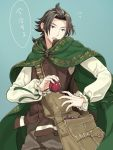 1boy alternate_costume apple bag brown_hair cape cyrus_(octopath_traveler) food fruit gloves highres jewelry long_hair male_focus octopath_traveler open_mouth ponytail shikimiorange short_hair simple_background solo