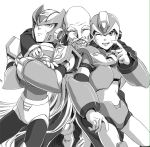3boys android arm_around_shoulder bald beard closed_eyes crossed_arms dr._cain facial_hair gloves greyscale helmet long_hair male_focus monochrome multiple_boys old_man one_eye_closed open_mouth rockman rockman_x smile teeth uncolored white_background white_gloves x_(rockman) yukinbo78 zero_(rockman)