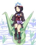 1girl absurdres black_hair black_legwear flower hair_flower hair_ornament highres japanese_clothes looking_at_viewer low_ponytail normaland origami princess_principal sandals sash short_hair sitting sleeveless smile solo tabi toudou_chise violet_eyes