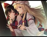 2girls :t ascot bangs bare_shoulders black_hair blue_neckwear blush bow breasts brown_eyes commentary_request detached_sleeves dress dutch_angle eyebrows_visible_through_hair fan folding_fan hair_between_eyes hair_bow hair_tubes hakurei_reimu hand_on_another's_chin hat highres holding holding_fan juliet_sleeves letterboxed long_hair long_sleeves looking_at_viewer medium_breasts mob_cap multiple_girls open_mouth profile puffy_sleeves red_bow ribbon-trimmed_sleeves ribbon_trim sidelocks single_sidelock tabard touhou toyosaki_shu upper_body white_dress white_hat wide_sleeves yakumo_yukari yuri