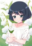 1girl bangs bare_shoulders black_eyes black_hair casual closed_mouth commentary dress eyebrows_visible_through_hair flower girls_und_panzer holding holding_flower lily_of_the_valley looking_at_viewer off-shoulder_dress off_shoulder senzoc short_hair short_sleeves smile solo standing upper_body utsugi_yuuki white_background white_dress
