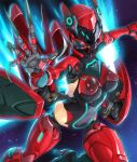 1girl armor blonde_hair bodysuit breasts breasts_apart claws covered_navel cyborg female fingernails flying full_armor gas_mask hand_up helmet highres jet_engine large_breasts lilith-soft long_fingernails machine mechanical_arm mechanical_legs pamela_jaeger_(taimanin_asagi_battle_arena) short_hair solo space taimanin_(series) taimanin_asagi_battle_arena wings yuuji_(and)