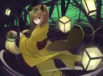 1girl animal_ears brown_flower brown_hair closed_mouth commentary_request flower highres holding japanese_clothes kamameshi_gougoumaru kimono lantern leaf leaf_on_head long_sleeves looking_at_viewer looking_back obi original parted_lips raccoon_ears raccoon_tail red_eyes sash solo standing striped striped_kimono tail tanuki vertical_stripes white_flower wide_sleeves yellow_kimono yukata