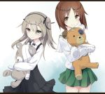 2girls bandage bandaid bangs black_neckwear black_ribbon black_skirt blouse boko_(girls_und_panzer) bow bowtie brown_eyes brown_hair casual closed_mouth collared_shirt commentary eyebrows_visible_through_hair girls_und_panzer green_skirt hair_ribbon high-waist_skirt holding holding_stuffed_animal layered_skirt letterboxed light_brown_eyes light_brown_hair long_hair long_sleeves looking_at_viewer medium_skirt miniskirt multiple_girls nishizumi_miho ooarai_school_uniform pleated_skirt ribbon scar school_uniform serafuku shimada_arisu shirt short_hair side_ponytail skirt smile standing stuffed_animal stuffed_toy suspender_skirt suspenders teddy_bear tenrai white_blouse white_shirt