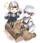 2boys :d akizone ascot bell blue_eyes blue_hair bottle closed_eyes commentary earrings english_commentary final_fantasy final_fantasy_xiv fingerless_gloves gloves highres holding jewelry jingle_bell knife lalafell leaf leaf_on_head male_focus multiple_boys notice_lines open_mouth pointy_ears simple_background smile table tanuki white_background white_gloves white_neckwear