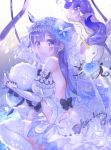 1girl ahoge alicorn animal azur_lane bangs bare_shoulders basket black_bow blue_flower blue_rose blush bow criac detached_sleeves dress eyebrows_visible_through_hair flower flying_sweatdrops hair_flower hair_ornament hair_ribbon highres juliet_sleeves long_sleeves looking_at_viewer looking_to_the_side mouth_hold parted_lips puffy_sleeves purple_hair ribbon rose see-through sitting sleeves_past_wrists solo thigh-highs tiara unicorn_(azur_lane) violet_eyes wariza water white_dress white_legwear