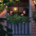 2girls ahoge artist_name black_hair blurry_foreground brown_eyes brown_hair drinking from_outside glass koyorin lips long_hair looking_at_another multiple_girls original smile window