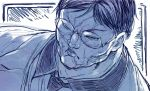 1boy blue character_request closed_mouth collared_shirt commentary_request frown glasses grappler_baki looking_at_viewer male_focus monochrome necktie round_eyewear sakino_shingetsu scar shirt solo ugly_man