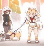 ... 2girls ? animal_ears black_hair blush bucket_hat coat collared_shirt commentary_request dog dog_(kemono_friends) dog_ears dog_tail elbow_gloves eyebrows_visible_through_hair flying_sweatdrops fur_trim gloves hand_in_hair harness hat heart highres hood hood_down kemono_friends leash light_brown_hair long_sleeves mojibake_commentary multicolored_hair multiple_girls necktie original pants partial_commentary pug shiba_inu shirt shoes short_hair short_sleeves shorts sneakers socks spoken_ellipsis sweatdrop t-shirt tail tanaka_kusao white_hair
