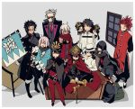 >_< 4girls 6+boys :d ahoge armchair bangs black_coat black_hair black_jacket black_pants black_shirt black_skirt blank_eyes blunt_bangs bridal_gauntlets cape chair character_request chibi closed_eyes coat commentary_request desk dual_persona evil_grin evil_smile facing_viewer fate/grand_order fate_(series) fujimaru_ritsuka_(male) gloves grey_background grey_vest grin hair_over_one_eye hair_slicked_back haori hat holding holding_sword holding_weapon imigimuru jacket japanese_clothes katana long_hair long_sleeves looking_at_viewer multiple_boys multiple_girls neckerchief necktie oda_nobukatsu_(fate/grand_order) oda_nobunaga_(fate) okada_izou_(fate) okita_souji_(alter)_(fate) okita_souji_(fate) okita_souji_(fate)_(all) open_clothes open_coat open_mouth oryou_(fate) pants peaked_cap pink_hair pleated_skirt red_cape red_neckwear sakamoto_ryouma_(fate) scarf scarf_over_mouth shirt sitting skirt smile standing sunglasses sweatdrop sword vest weapon white_gloves white_hair white_hat white_jacket window