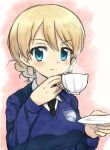 1girl bangs black_neckwear blonde_hair blue_eyes blue_sweater braid closed_mouth commentary cup darjeeling dress_shirt drinking_glass emblem eyebrows_visible_through_hair girls_und_panzer holding holding_cup light_smile long_sleeves looking_at_viewer meis_(terameisu) necktie saucer school_uniform shirt short_hair solo st._gloriana's_(emblem) st._gloriana's_school_uniform sweater teacup tied_hair twin_braids upper_body v-neck white_shirt wing_collar