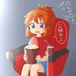 1girl bangs bendy_straw blue_eyes blue_shorts blush brown_hair bucket commentary_request cup disposable_cup drinking_straw eyebrows_visible_through_hair food grey_ribbon hair_ribbon koshigaya_natsumi looking_at_viewer non_non_biyori open_mouth ponytail popcorn red_shirt ribbon seat shika_(s1ka) shirt short_shorts short_sleeves shorts sitting solo translated