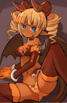 1girl aqua_eyes arm_support bandeau bangs bare_shoulders blunt_bangs blush bow bow_panties breasts brown_bow brown_choker brown_horns brown_legwear brown_tail brown_wings choker cleavage commentary_request curly_hair dark_skin demon_girl demon_horns demon_tail demon_wings dot_nose drill_hair eyebrows_visible_through_hair feet_out_of_frame garoudo_(kadouhan'i) gloves horns jitome leg_lift looking_at_viewer lying medium_breasts medium_hair midriff navel on_side open_mouth orange_gloves orange_hair orange_panties original panties petite pointy_ears short_eyebrows skull solo stomach succubus tail thick_eyebrows thigh-highs tongue tongue_out twin_drills underwear wings