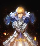 1girl absurdres adapted_costume armor armored_dress artoria_pendragon_(all) bangs black_background blonde_hair blue_dress braid breastplate buckle closed_mouth dress excalibur eyebrows_visible_through_hair fate/stay_night fate_(series) faulds floating_hair foreshortening french_braid gauntlets glowing glowing_sword glowing_weapon green_eyes hair_between_eyes hands_on_hilt highres joe_(j_studio) juliet_sleeves light_particles long_sleeves looking_at_viewer outstretched_arms puffy_sleeves saber serious shiny shiny_hair short_hair solo sparks standing v-shaped_eyebrows weapon wind
