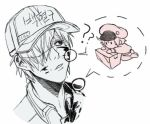 1boy 1girl ? ae-3803 baseball_cap blood cabbie_hat chibi hair_over_one_eye hat hataraku_saibou lowres package red_blood_cell_(hataraku_saibou) u-1146 white_blood_cell_(hataraku_saibou)