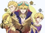 3boys :/ armor blonde_hair book child_gilgamesh circlet closed_mouth commentary_request crossed_arms earrings eyebrows_visible_through_hair fate/grand_order fate_(series) gauntlets gilgamesh gilgamesh_(caster)_(fate) gold_armor hair_between_eyes hair_slicked_back holding holding_book horns jewelry lock lock_earrings looking_at_viewer male_focus mi_(pic52pic) multiple_boys multiple_persona open_book padlock parted_lips pauldrons purple_shirt red_eyes shirt short_sleeves smile turban