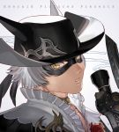1boy animal_ears black_hat cat_ears ears_through_headwear final_fantasy final_fantasy_xiv from_side grey_background grey_hair hat holding holy_pumpkin looking_at_viewer looking_to_the_side male_focus mask miqo'te parted_lips portrait solo