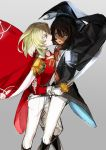 2girls andou_(girls_und_panzer) andre_grandier andre_grandier_(cosplay) artoria_pendragon_(all) bangs black_cape black_hair black_jacket blonde_hair blue_eyes brown_eyes cape coattails cosplay dark_skin epaulettes flower girls_und_panzer gloves grey_background highres holding holding_sword holding_weapon hug itou_(golem_inc) jacket long_sleeves looking_at_another medium_hair messy_hair multiple_girls open_mouth oscar_francois_de_jarjayes oscar_francois_de_jarjayes_(cosplay) oshida_(girls_und_panzer) pants red_cape red_jacket rose saber_(weapon) sash simple_background smile straddling sword versailles_no_bara weapon white_flower white_gloves white_pants white_rose wind yuri