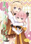 2girls :d ahoge bangs black_bow black_gloves black_hairband blonde_hair blue_eyes blush bow breast_pillow brown_skirt commentary_request cover cover_page doujin_cover eyebrows_visible_through_hair eyes_visible_through_hair fingerless_gloves gloves hair_bow hair_flaps hairband height_difference hug kohagura_ellen long_hair long_sleeves looking_at_viewer mashiko_kaoru miniskirt multiple_girls nashiki_noi off_shoulder open_mouth osafune_girls_academy_uniform own_hands_together pink_hair pleated_skirt rating school_uniform single_garter_strap single_thighhigh skirt smile thigh-highs toji_no_miko twintails yellow_eyes yuri