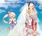 2girls ahoge alternate_hairstyle azur_lane bare_shoulders blue_eyes blush bouquet braid bridal_veil closed_eyes commentary covering_mouth crying dress elbow_gloves facial_mark flower gloves hair_flower hair_ornament headgear heart_ahoge heterochromia highres indianapolis_(azur_lane) lavender_hair long_braid long_hair long_ponytail multiple_girls nmz_(namazu) open_mouth portland_(azur_lane) side_ponytail silver_hair tears veil wavy_mouth wedding wedding_dress white_gloves yellow_eyes