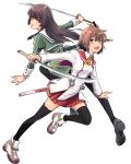 2girls :d ankle_boots bangs black_legwear blunt_bangs boots brown_eyes brown_hair cross-laced_footwear double-breasted dress etou_kanami eyebrows_visible_through_hair from_side full_body green_dress green_neckwear grey_outline heijou_institute_school_uniform highres holding holding_sword holding_weapon juujou_hiyori lace-up_boots loafers long_hair long_sleeves looking_at_viewer looking_to_the_side minoseki_gakuin_uniform multiple_girls one_side_up open_mouth outstretched_arm pantyhose pleated_dress pleated_skirt red_eyes red_sailor_collar red_skirt ribbon round_teeth sailor_collar saitou_sakae school_uniform sheath shoes short_hair simple_background skirt smile straight-laced_footwear sword teeth thigh-highs toji_no_miko weapon white_background white_sailor_collar yellow_neckwear yellow_ribbon zettai_ryouiki