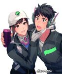 1boy 1girl baseball_cap black_eyes black_hair bodysuit brown_eyes brown_hair d.va_(overwatch) dae-hyun gearous gloves hand_on_another's_chin hat headphones jacket looking_at_another looking_at_viewer open_mouth overwatch parted_lips signature simple_background smile white_background white_hat