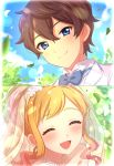 1boy 1girl :d absurdres aikatsu!_(series) aikatsu_stars! blonde_hair blue_eyes blue_sky blush bridal_veil brown_hair closed_eyes commentary_request couple day dress eyelashes gradient gradient_background hetero highres jewelry looking_at_viewer necklace nijino_yume open_mouth outdoors pearl_necklace sekina sidelocks sky smile veil wedding wedding_dress white_dress yuuki_subaru