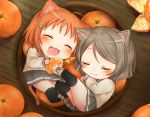 2girls ^3^ ahoge animal_ears black_legwear blush cat_ears cat_tail chibi closed_eyes clover_hair_ornament commentary drooling eating fang food fruit grey_hair grey_skirt hair_ornament highres in_bowl in_container kemonomimi_mode love_live! love_live!_sunshine!! mkzk_nagi multiple_girls neko_nabe open_mouth orange orange_hair orange_slice pleated_skirt pot short_hair skirt sleeping socks tail takami_chika uranohoshi_school_uniform watanabe_you