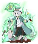 1girl bailingxiao_jiu bangs black_legwear blue_eyes blush boots bridal_gauntlets chestnut_mouth coat commentary_request dress_shirt eyebrows_visible_through_hair glowing glowing_eyes green_coat green_footwear green_hat gun hat highres holding holding_sword holding_weapon long_sleeves open_clothes open_coat original parted_lips pleated_skirt rifle shirt silver_hair skirt skull solo sword thigh-highs tombstone weapon white_shirt white_skirt wide_sleeves