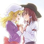 2girls blonde_hair blush brown_eyes brown_hair face-to-face grin hair_ribbon hand_holding hat interlocked_fingers long_hair looking_at_another maribel_hearn mob_cap multiple_girls neck_ribbon necktie open_mouth ribbon short_hair smile tearing_up tears touhou upper_body usami_renko yellow_eyes yuri