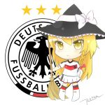 2539049 absurdres adidas blonde_hair blush bow braid broom chibi closed_mouth emblem full_body german germany hair_bow hat hat_bow highres holding jersey kirisame_marisa red_ribbon ribbon skirt smile soccer soccer_uniform sportswear standing star touhou white_bow white_legwear white_ribbon white_skirt witch_hat world_cup yellow_eyes
