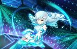 1girl aqua_legwear artist_request bangs bare_shoulders breasts brown_eyes dress gloves headset idolmaster idolmaster_cinderella_girls idolmaster_cinderella_girls_starlight_stage lights long_hair looking_at_viewer official_art outstretched_hand parted_lips serious silver_hair solo stage takamine_noa thigh-highs