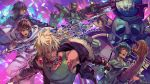 4boys :o black_hair blonde_hair blue_eyes blue_jacket brown_hair bullet cape claws copyright_name dual_wielding fighting_stance grin highres holding holding_spear holding_sword holding_weapon jacket jewelry knife male_focus mecha multiple_boys necklace official_art otani_(gloria) polearm psychic_hearts purple_background shouting smile spear sword tattoo veins weapon white_cape