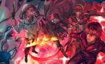 5boys black_gloves boots brown_hair bug butterfly cape copyright_name flaming_sword gloves glowing glowing_eyes grin gun hair_over_eyes hand_on_hip highres holding holding_gun holding_knife holding_sword holding_weapon insect jacket jewelry knife looking_at_viewer male_focus multiple_boys necklace official_art otani_(gloria) psychic_hearts red_background red_eyes red_hood slashing smile standing sword weapon white_hair