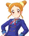 1girl :t aikatsu! aikatsu!_(series) arisugawa_otome blouse blue_jacket blush closed_mouth double_bun frown hands_on_hips highres jacket looking_at_viewer orange_eyes pout sekina short_hair simple_background solo standing upper_body v-shaped_eyebrows white_background white_blouse