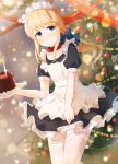 1other androgynous apron bangs black_dress blonde_hair blue_bow blue_eyes blurry blurry_background blush bow burning cake candle chevalier_d'eon_(fate/grand_order) chihuri chocolate_cake christmas_ornaments christmas_tree closed_mouth collarbone commentary_request depth_of_field dress dutch_angle eyebrows_visible_through_hair fate/grand_order fate_(series) fingernails fire food frilled_apron frills hair_bow highres holding holding_plate long_hair looking_at_viewer low_ponytail maid maid_apron maid_headdress plate pleated_dress ponytail puffy_short_sleeves puffy_sleeves red_collar red_ribbon ribbon short_sleeves sidelocks solo thigh-highs very_long_hair white_apron white_legwear