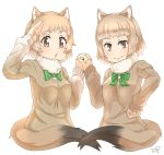 2girls animal_ears bangs black-tailed_prairie_dog_(kemono_friends) blunt_bangs bow bowtie brown_eyes brown_sweater closed_mouth commentary_request extra_ears fur_collar green_bow hand_holding hand_on_hip hand_to_forehead hand_up hands_up highres interlocked_fingers kemono_friends light_brown_hair long_sleeves looking_at_viewer mole mole_under_eye multiple_girls open_mouth prairie_dog_ears prairie_dog_tail short_hair shoulder-to-shoulder sidelocks simple_background sweater tail tenya upper_body white_background