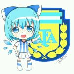 1girl adidas argentina bangs blue_eyes blue_hair blue_ribbon blush bow chibi cirno emblem eyebrows fairy_wings full_body hair_bow hair_ornament ice ice_wings jersey open_mouth pointing ribbon roll_daikufu short_hair signature skirt smile soccer soccer_uniform solo sportswear standing touhou white_legwear white_skirt wings world_cup